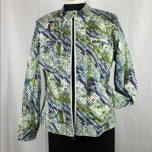 Chico's Turquoise and Green Zippered Jacket